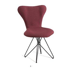 Cadeira Jacobsen B. Butterfly Aco Preto T1076 Linho Marsala