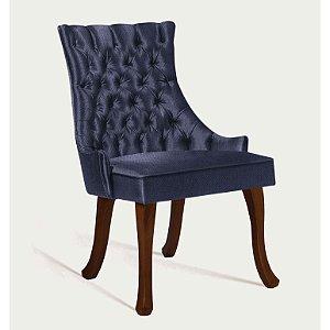 Cadeira Luis Xv B. Mad Castanho T1091 Linhao Azul Marinho