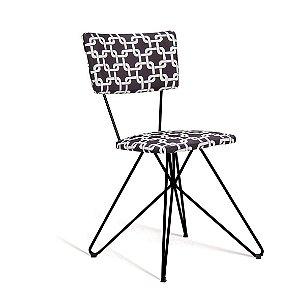 Cadeira Butterfly Estofada Preto/Branco