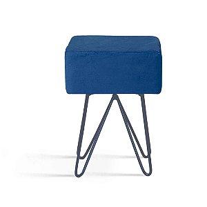 Puff Box Azul Marinho Pés Aço