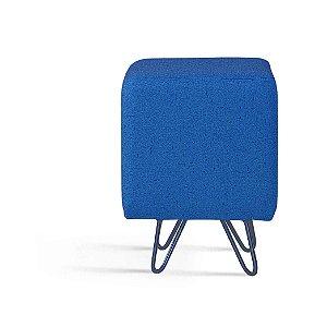 Puff Dado Azul Marinho Pés Aço