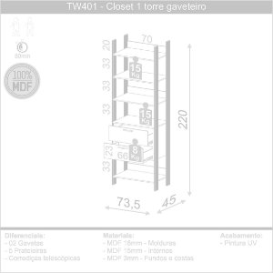 CLOSET 1 TORRE GAVETEIRO 73,6CM FEITO EM MDF COM PINTURA ULTRAVIOLETA - COR FREIJO/PRETO FOSCO