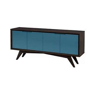 Buffet Querubim 04 portas cor envelhecido com azul
