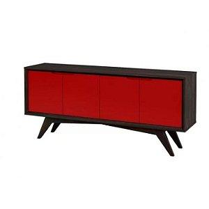 Buffet Querubim 04 portas cor Envelhecido com Vermelho