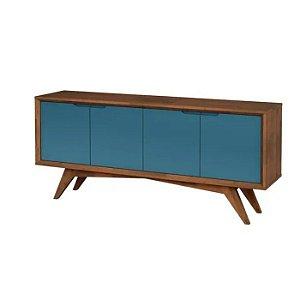 Buffet Querubim 04 portas cor Pinhão com Azul