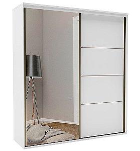 Roupeiro Eleganza 2 Portas 1 c/ Espelho 2070 mm Branco