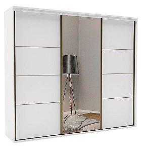 Roupeiro Eleganza 3 Portas 1 c/ Espelho 2670 mm Branco