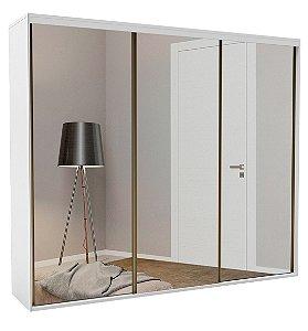 Roupeiro Luminum 3 Portas c/ Espelho 2270 mm  Branco