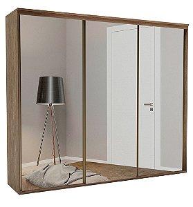 Roupeiro Luminum 3 Portas c/ Espelho 2270 mm  Ébano