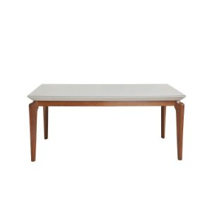 MESA LAUREN 1800 C/ VIDRO 4MM OFF-WHITE/NATURAL