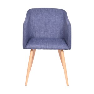 Cadeira Charla Com Braço Base Madeira Jeans Azul