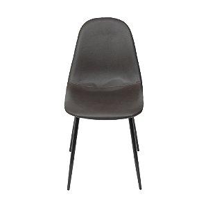 Cadeira Charla Em PU Base Preta Café