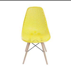 Cadeira Colmeia Base Madeira Amarela