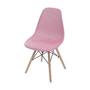 Cadeira Colmeia Base Madeira Rosa