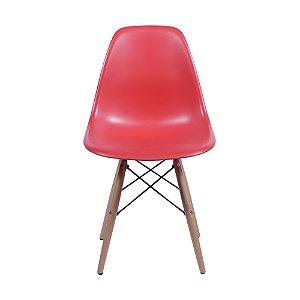Cadeira DKR Base Madeira Vermelha