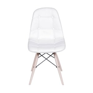 Cadeira DKR Botone Base Madeira Branca