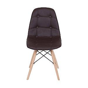 Cadeira DKR Botone Base Madeira Café