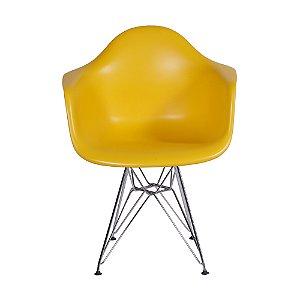 Cadeira DKR Com Braço Base Cromada Amarela