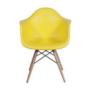 Cadeira DKR Com Braço Base Madeira Amarela