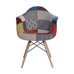 Cadeira DKR Patchwork Base Madeira Mix