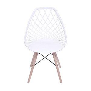 Cadeira Kaila Base Madeira Branca