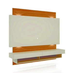 PAINEL 180CMC/02 GAVETAS + LED FEITO EM MDF COM PINTURA ULTRAVIOLETA - COR OFF WHITE/FREIJO