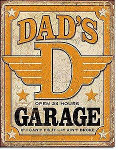 Placa Decorativa (em Metal) - Dads Garage