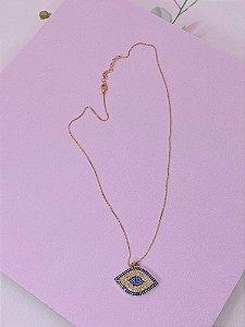 Colar Olho grego dourado com mini strass azul e bege
