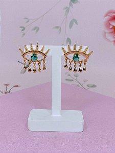 Brinco Olho Grego dourado com pedrinha verde