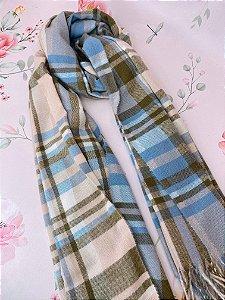 Lenço de inverno xadrez rosa, azul, off white e marrom com franjas