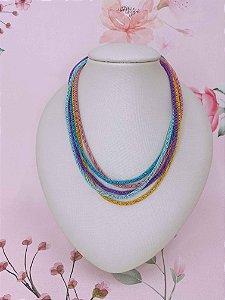 Colar malha esmaltado colorido -  amarelo , roxo , azul , rosa e azul claro