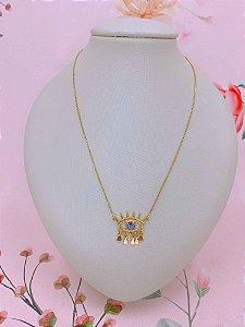 Colar Olho Grego com medalhas em formato de gota dourado com pedra - lilás ou branco
