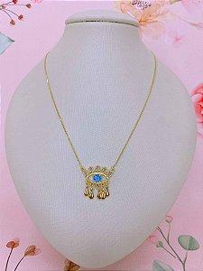 Colar Olho Grego com medalhas em formato de gota dourado com pedra azul e transparente