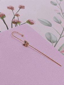 Brinco Ear cuff Bengala dourado com laço e mini pedrinhas - colorido ou branco