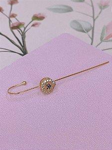 Brinco Ear cuff Bengala dourado com coração e mini pedrinhas coloridas e brancas