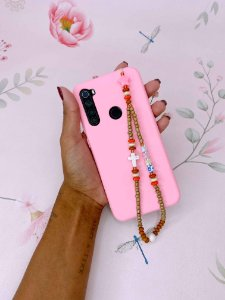 Pingente Phone Strap miçangas douradas com cruz e estrelas - rosa ou lilás