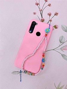 Pingente Phone Strap miçangas rosa claro com girassol -azul ou amarelo