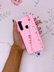Pingente Phone Strap miçangas brancas com coloridos e bolas - rosa ou laranja