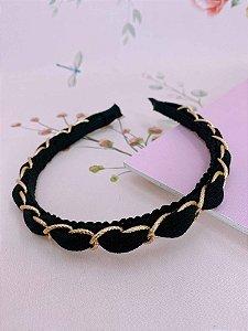 Arco trançado com corrente dourada e tecido - bege,preto ou marrom