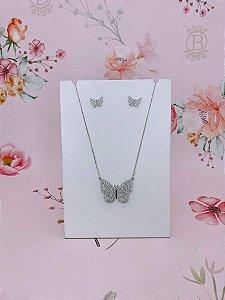 Conjunto colar e brinco borboleta de strass semi jóia