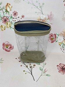 Necessaire frasqueira grande transparente com azul marinho