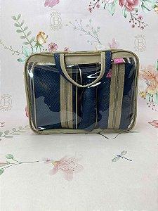 Kit Necessaire maleta trio azul marinho