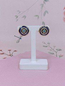 Brinco botão dourado esmaltado - azul ou branco com rosa
