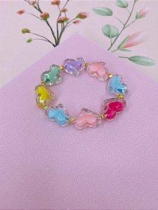 Pulseira Corações transparentes com cores - azul, colorido, rosa ou colorido neon