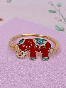 Pulseira bracelete dourado com elefante - preto, verde tiffany, marrom ou lilás