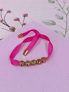 Pulseira tecido com escrita DREAM dourado - rosa, verde ou vermelho