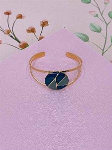 Pulseira bracelete dourado com botão esmaltado - marrom e bege, preto e branco ou azul