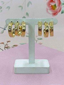 Kit de argolas douradas Croco.