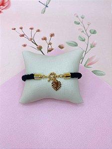 Pulseira tecido torcido com pingente de folha dourada - preto ou rosa