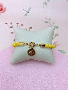 Pulseira tecido torcido com pingente de olho grego dourada - azul, amarelo ou laranja